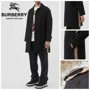 BURBERRY Icon Stripe Tropical Trench Coat Black